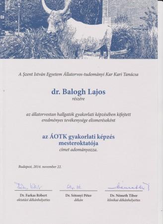 Dr. Balogh Lajos PhD onkológus állatorvos mesteroktato